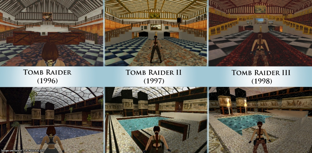 Timeline of the evolution of Croft Manor from Tomb Raider 1, 2 & 3